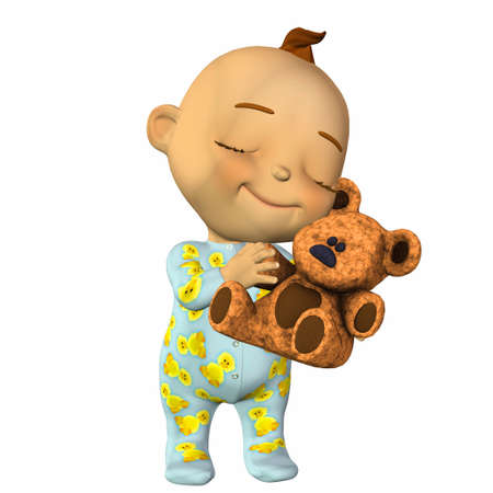 pajama: Illustration of happy cartoon baby hugging a teddy bear isolated on a white background Stock Photo