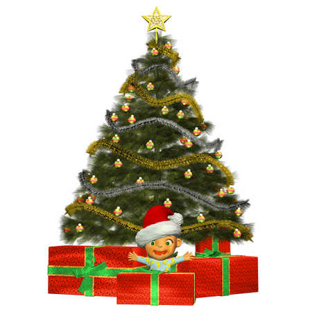 pyjama: Illustration of cartoon baby in front of a christmas tree and presents isolated on a white background