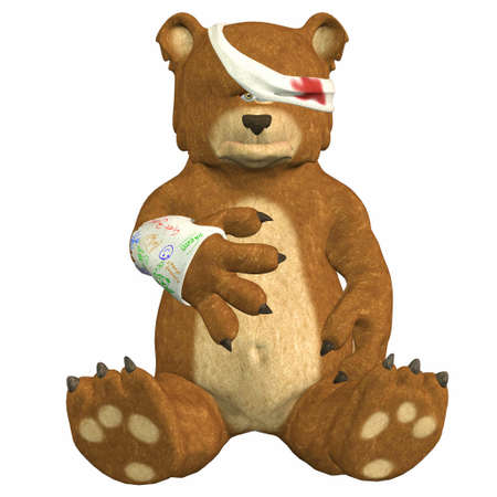 wounded: Illustration of a hurt bear isolated on a white background