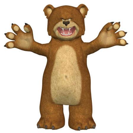 osito caricatura: Ilustraci�n de un oso enfadado aislado en un fondo blanco Foto de archivo