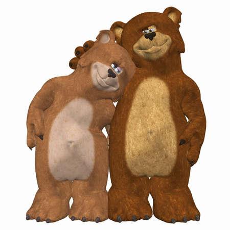 animalitos tiernos: Ilustraci�n de un par de osos en el amor aislado en un fondo blanco Foto de archivo