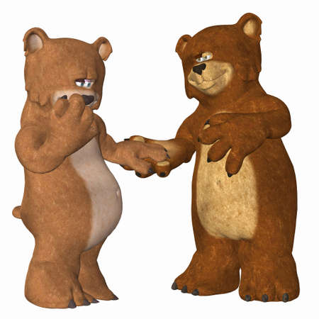 woo: Illustration of a couple of bears in love isolated on a white background Stock Photo