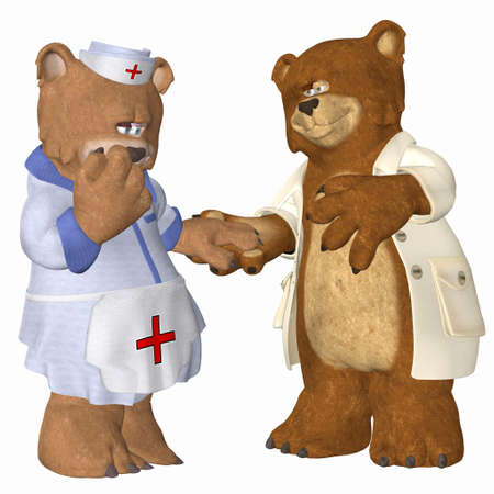 Illustration of a couple of doctor bears in love isolated on a white background illustration
