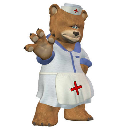 Illustration of a nurse bear isolated on a white background illustration