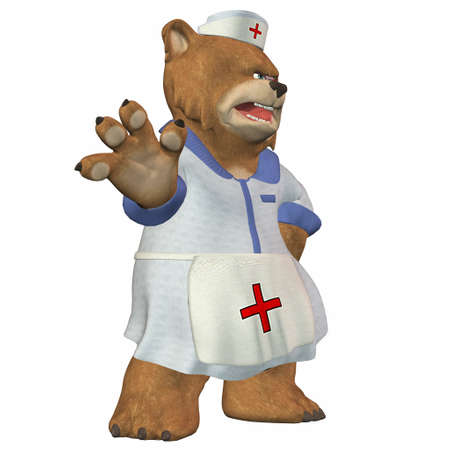 angry teddy: Illustration of a nurse bear isolated on a white background