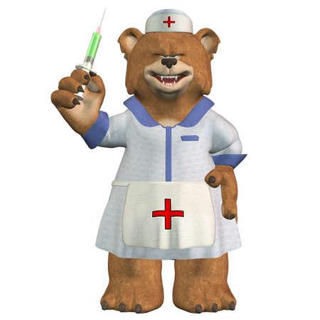 Illustration of a nurse bear isolated on a white background Stock Illustration - 12674369