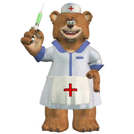 medical staff: Illustration of a nurse bear isolated on a white background
