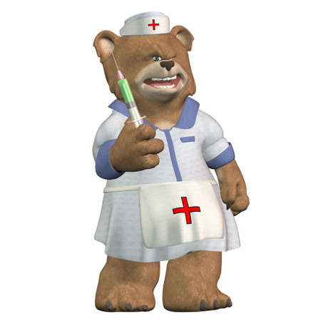 jab: Illustration of a nurse bear isolated on a white background