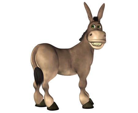 burro: Ilustración de un burro de dibujos animados aislado en un fondo blanco Foto de archivo
