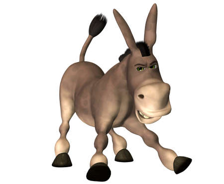 ears donkey: Illustration of a cartoon donkey isolated on a white background