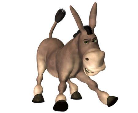 burro: Ilustraci�n de un burro de dibujos animados aislado en un fondo blanco Foto de archivo