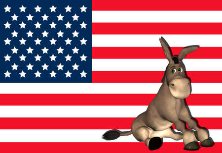 democratic: Illustration of democrat donkey in front of the USA flag