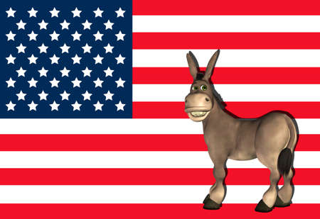Illustration of democrat donkey in front of the USA flag illustration