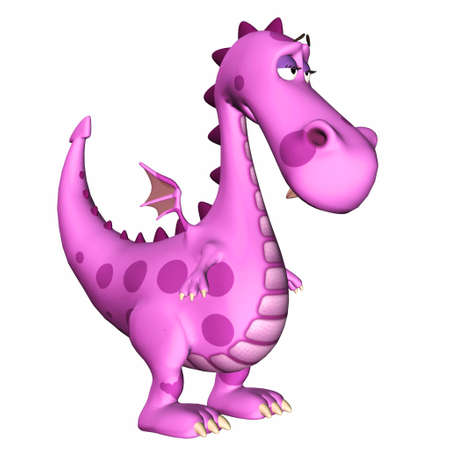 Illustration of a sad pink dragon isolated on a white backgorund