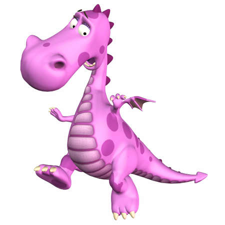 3d dragon: Illustration of a scared pink dragon isolated on a white backgorund