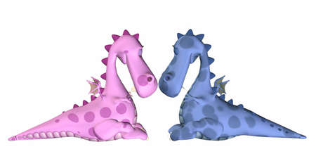 truelove: Illustration of a couple of dragon in love isolated on a white background Stock Photo