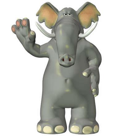 tusks: Illustration of an elephant isolated on a white background Stock Photo