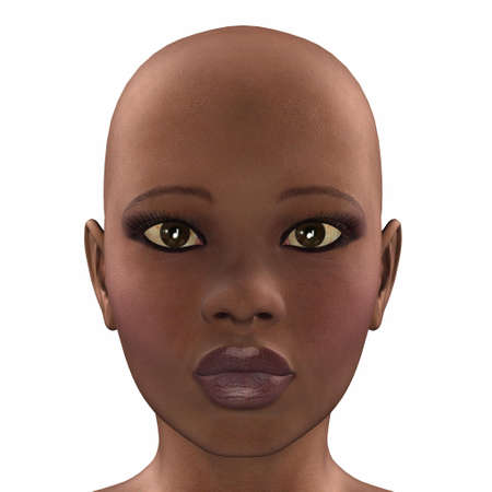 bald girl: Illustration of the face of an african female isolated on a white background Stock Photo