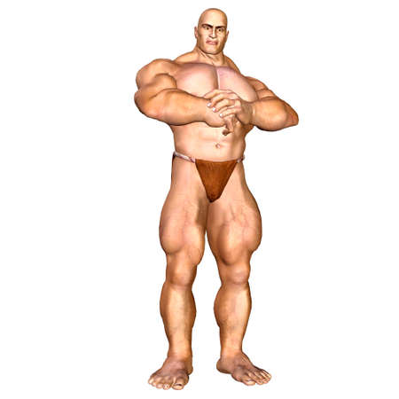 muscular build: Illustration of a muscular man isolated on a white background  Stock Photo