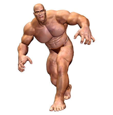 flexing: Illustration of a muscular man isolated on a white background  Stock Photo