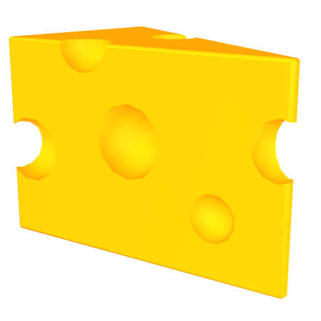 Illustration of a piece of swiss cheese isolated on a white background illustration