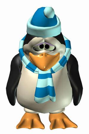 penguin cartoon: Illustration of a sad male penguin isolated on a white background