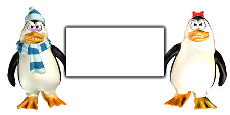 Illustration of a couple of penguins holding a blank sign isolated on a white background illustration