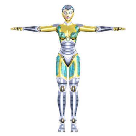 Illustration d'un robot féminin isolé sur un fond blanc Banque d'images