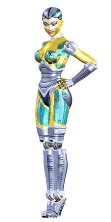 Illustration of a female robot isolated on a white background illustration