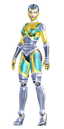 sci: Illustration of a female robot isolated on a white background
