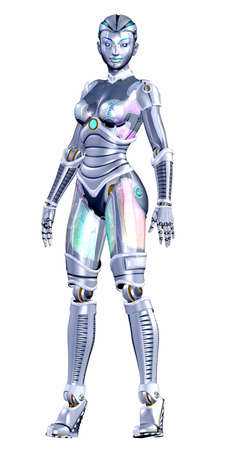 robot girl: Illustration of a female robot isolated on a white background