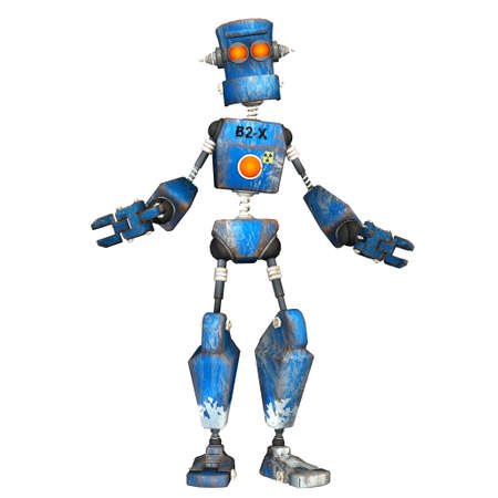 sci: Illustration of a blue robot isolated on a white background Stock Photo