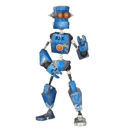 Illustration of a blue robot isolated on a white background illustration