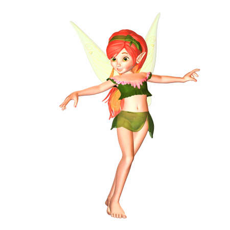 pixie: Illustration of a female fairy isolated on a white background