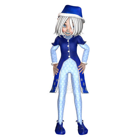 coy: Illustration of a female christmas elf isolated on a white background