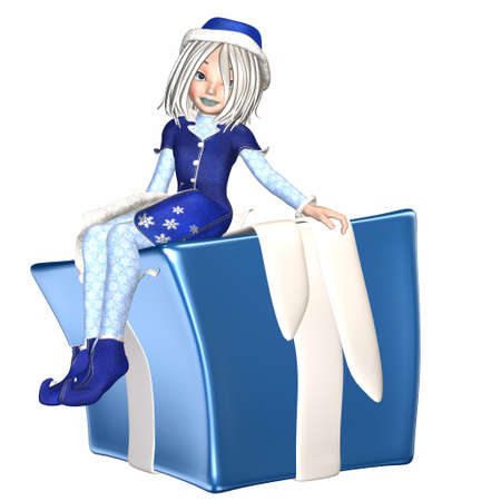 helper: Illustration of a female christmas elf isolated on a white background