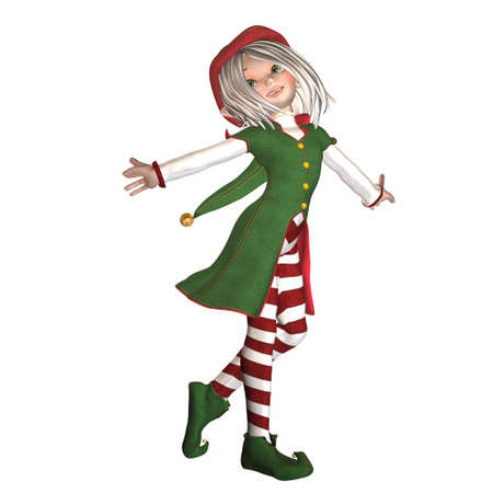 gnome: Illustration of a female christmas elf isolated on a white background