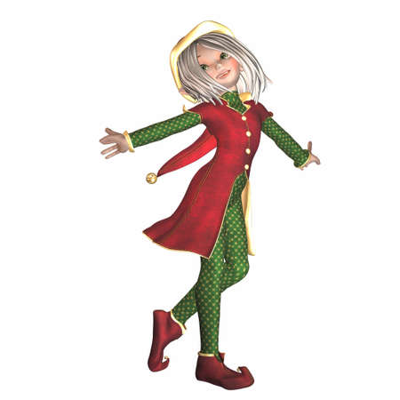 3d image: Illustration of a female christmas elf isolated on a white background