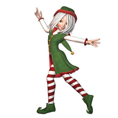 elfos navideÑos: Ilustración de una elfa de Navidad aislado en un fondo blanco