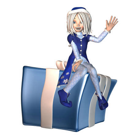 goblin: Illustration of a female christmas elf isolated on a white background