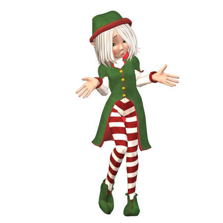 sad little girl: Illustration of a female christmas elf isolated on a white background