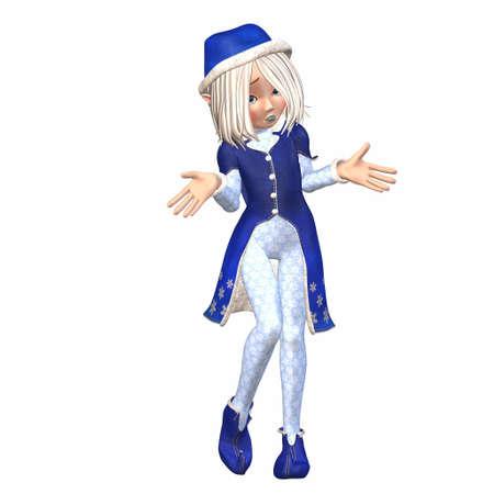 petite fille triste: Illustration d'une femme elfe de Noël isolé sur un fond blanc