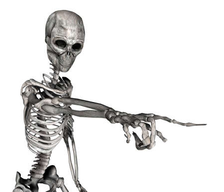3d scary: Illustration of a skeleton pointing isolated on a white background Stock Photo