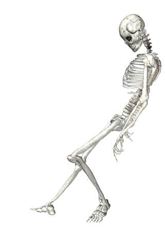 michele: Illustrazione di uno scheletro isolato su uno sfondo bianco Archivio Fotografico