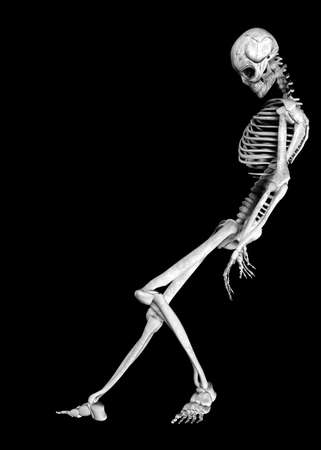 leaning:  Illustration of a skeleton isolated on a black background