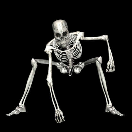 3d halloween:  Illustration of a skeleton isolated on a black background
