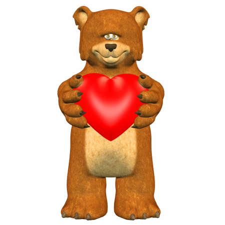 Illustration of a shy bear holding a heart isolated on a white background Stock Illustration - 12744902