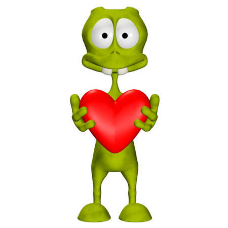 Illustration of a green alien holding a heart isolated on a white background Stock Illustration - 12744768