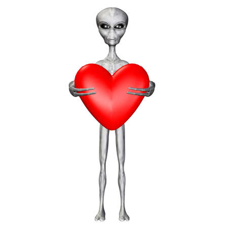 Illustration of an alien holding a heart isolated on a white background