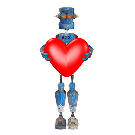 Illustration of a robot holding a heart isolated on a white background illustration